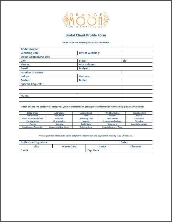 Bridal Client Profile Form | Orange Moon