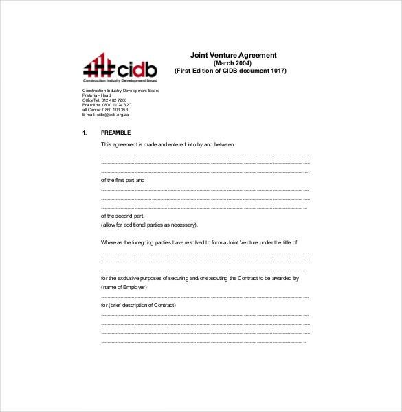 Joint Venture Agreement Template – 13+ Free Word, PDF Document ...
