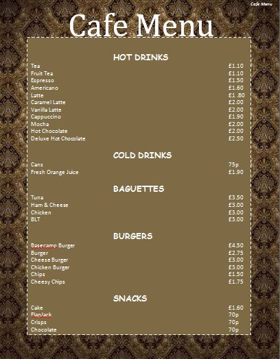 Cafe Menu Template | Microsoft Word Templates