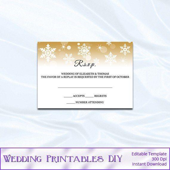 RSVP Template - Diy Gold Snowflake Wedding Enclosure Card ...