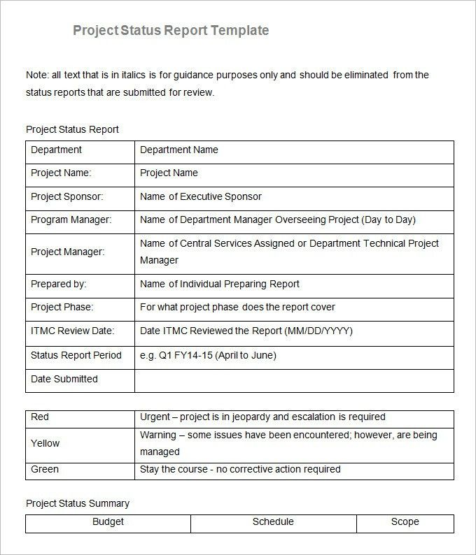 Sample Project Status Report Template - 6 Free Word, PDF Documents ...