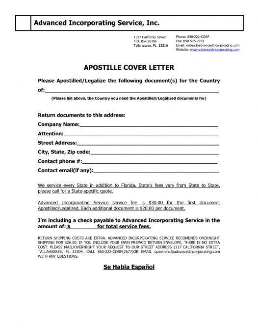 Cover Letter For Apostille Request Florida | Docoments Ojazlink