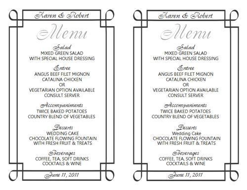 Free Wedding Menu Templates! http://www.weddingmenutemplate.com ...