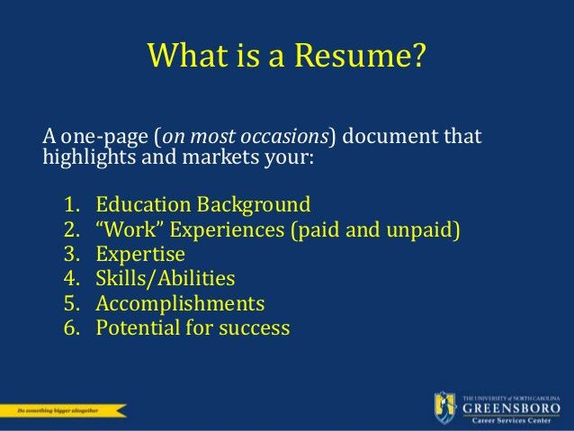 Resume and Cover Letter Workshop: Career Services UNCG