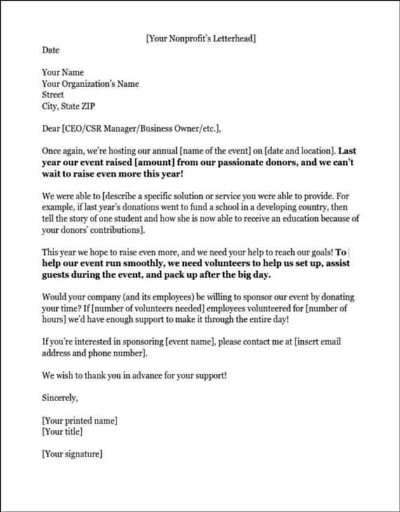 Example Sponsor Letter, sponsorship letters write great proposals ...
