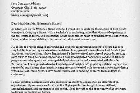 Commercial Real Estate Appraiser Cover Letter