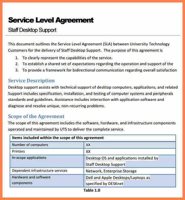 6+ service level agreement template for it support | Purchase ...