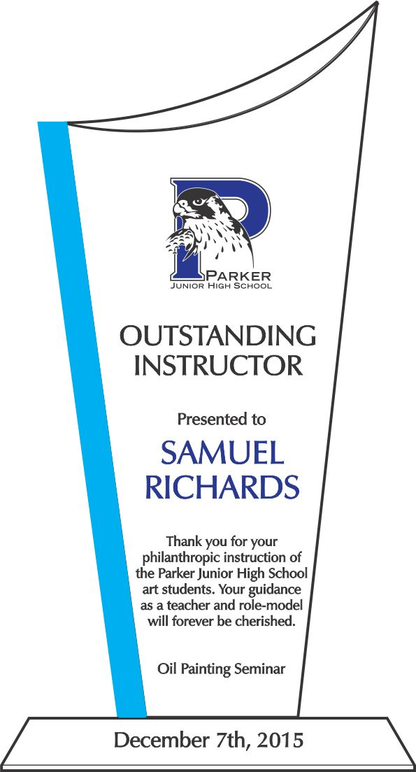 Outstanding Instructor Award (#184-4) | Wording Ideas | DIY Awards