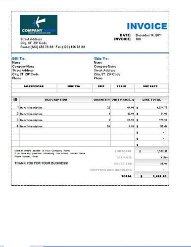 Sales Invoice Excel Template | Don | Pinterest