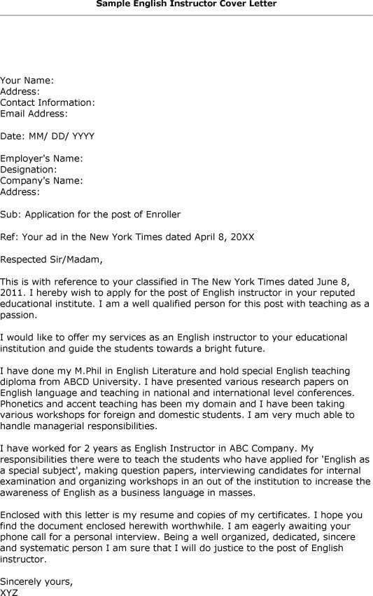 Cover Letter Examples For English Papers - Cover Letter Templates