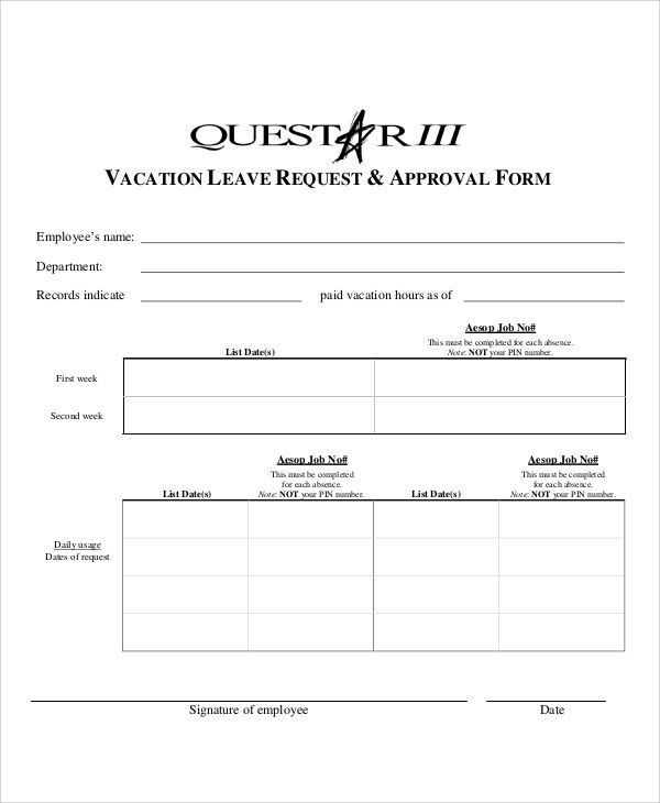 12+ Sample Leave Request Form - Free Sample, Example, Format Download