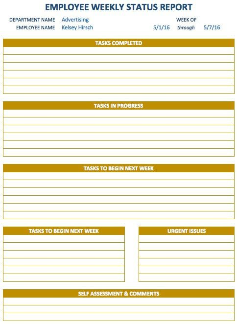 Weekly Report Template. Editable Weekly Management Report Template ...