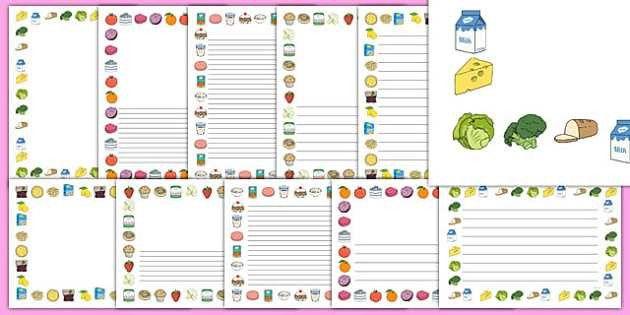 Food Themed A4 Page Border - food, page border, writing borders