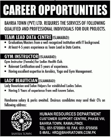 Bahria Town Jobs, Team Lead Data Center, GYM Instructor