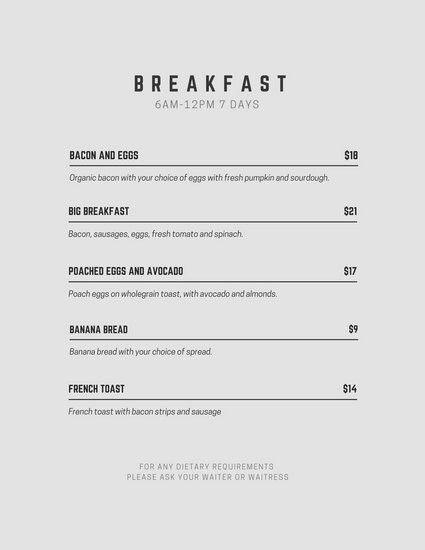 Breakfast Menu - Templates by Canva
