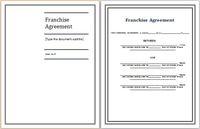 MS Word Franchise Agreement Template | Word Document Templates
