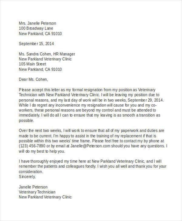 Professional Resignation Letter. Resignation Letter Samples ...