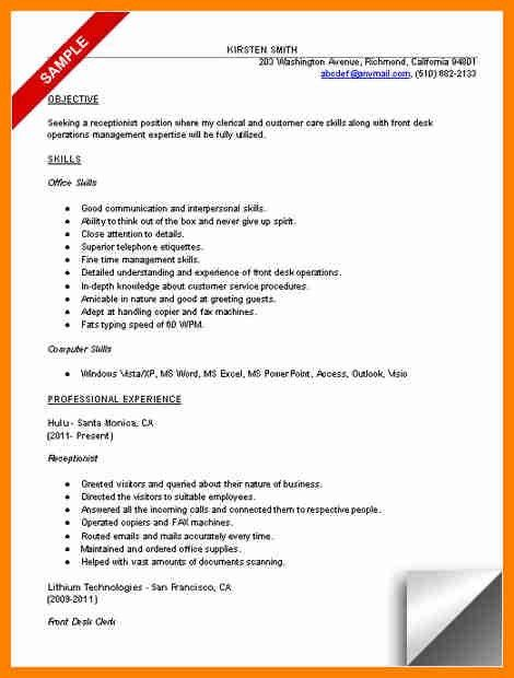 5+ resume objective for receptionist | forklift resume