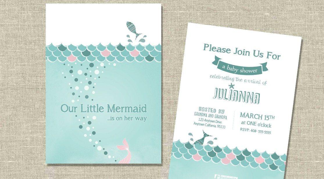 Little Mermaid Baby Shower Invitations | afoodaffair.me