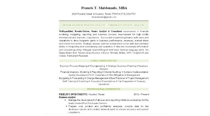 sample senior business analyst resume business analyst resume