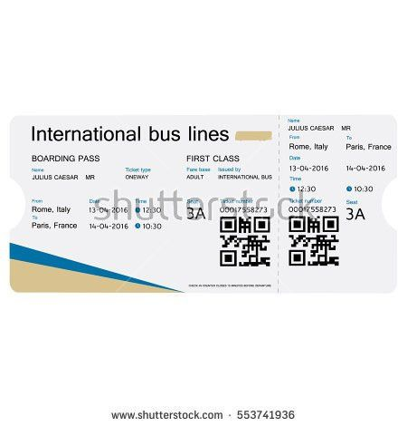 Vector Illustration Bus Ticket Template Design Stock Vector ...