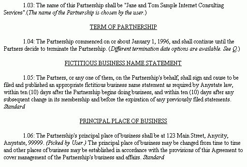 Example Document for Partnership Agreement