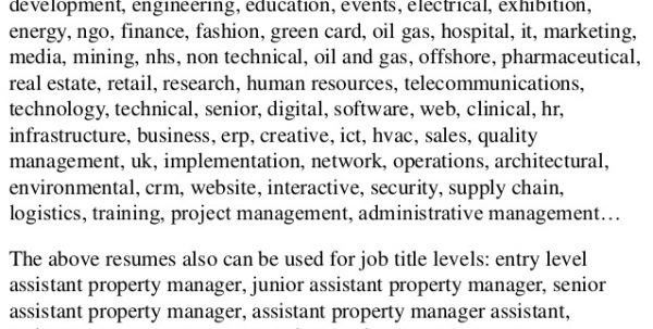 assistant property manager job description. assistant manager job ...