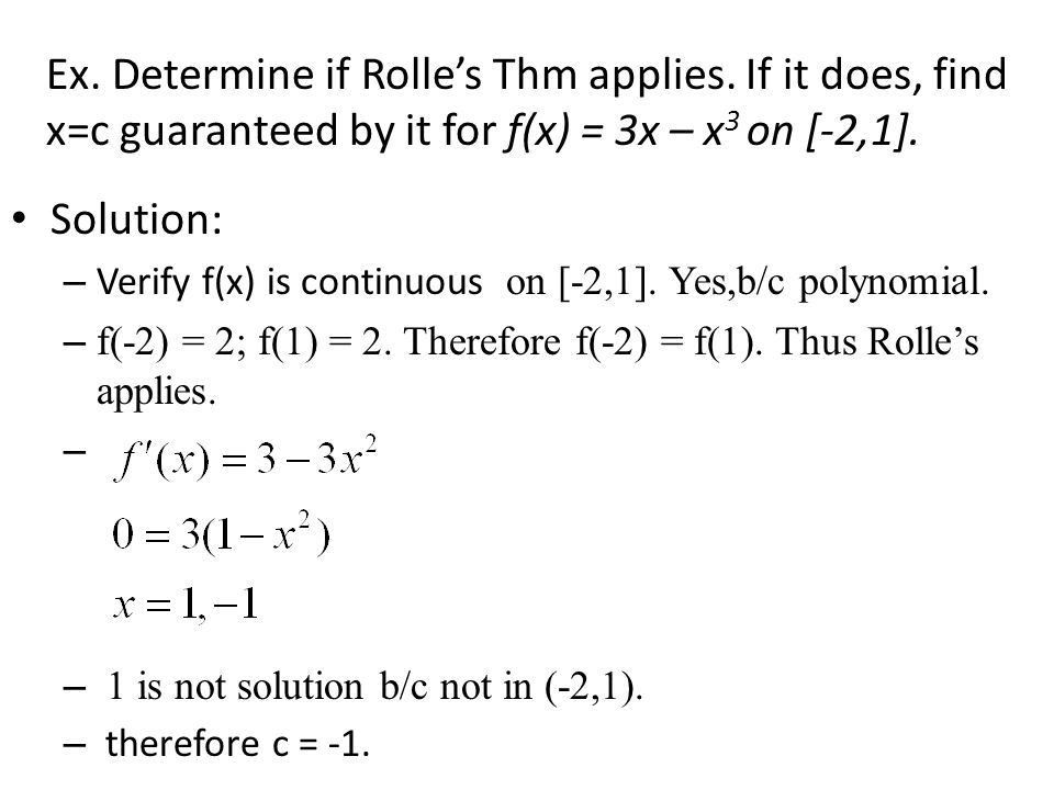 4.2A Rolle's Theorem* Special case of Mean Value Theorem Example ...