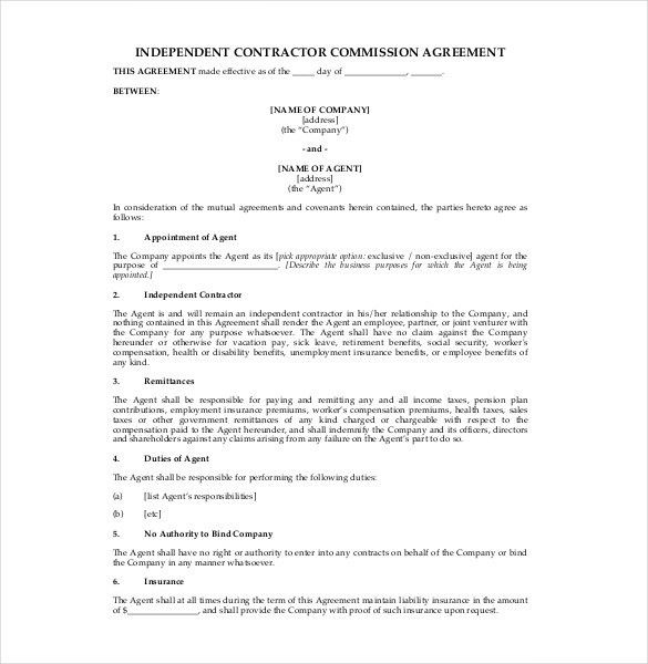 12+ Commission Agreement Template U2013 Free Sample, Example, Format .  Agent Agreement Template Free