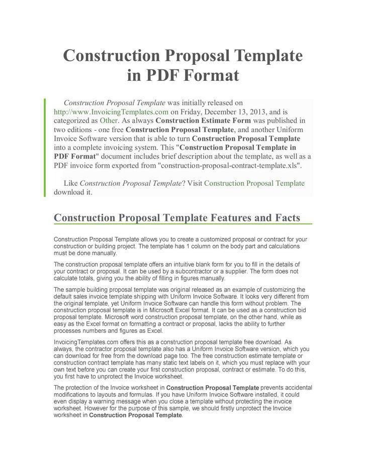 Construction Proposal Template | Download Free & Premium Templates ...