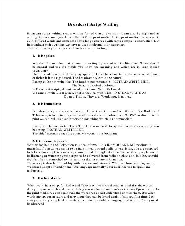 Sample Script Writing - 8+ Documents in PDF, Word