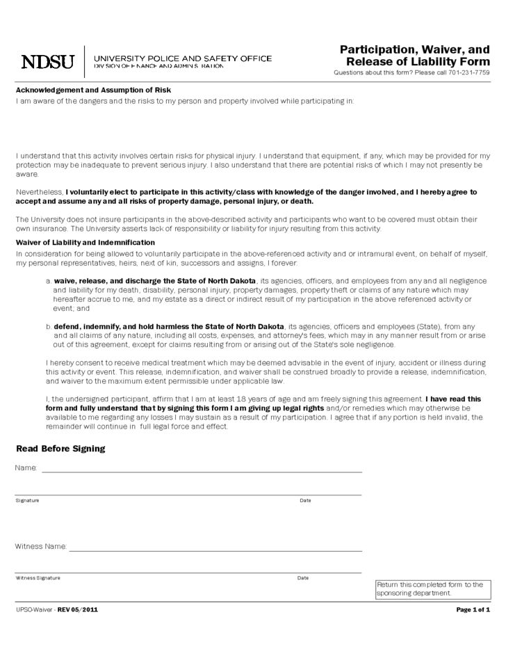 Participation, Waiver and Release of Liability Form - NDSU Free ...