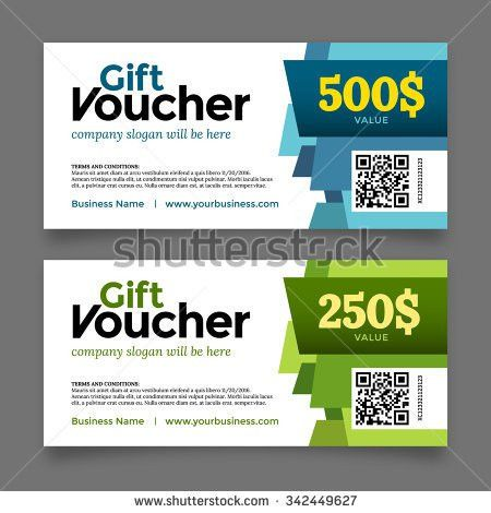 Gift Voucher Template Set Two Cards Stock Vector 339493823 ...