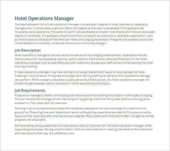 Front Desk Job Description. Operations Manager Job Description For ...