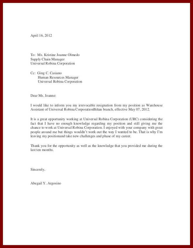Simple Letter. Best 25+ Job Resignation Letter Ideas On Pinterest ...