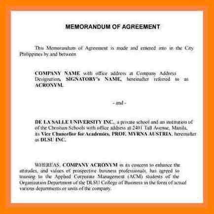 4+ agreement format between two parties | army memo format
