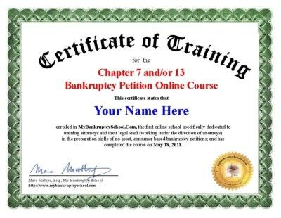 My Bankruptcy School - Certificate
