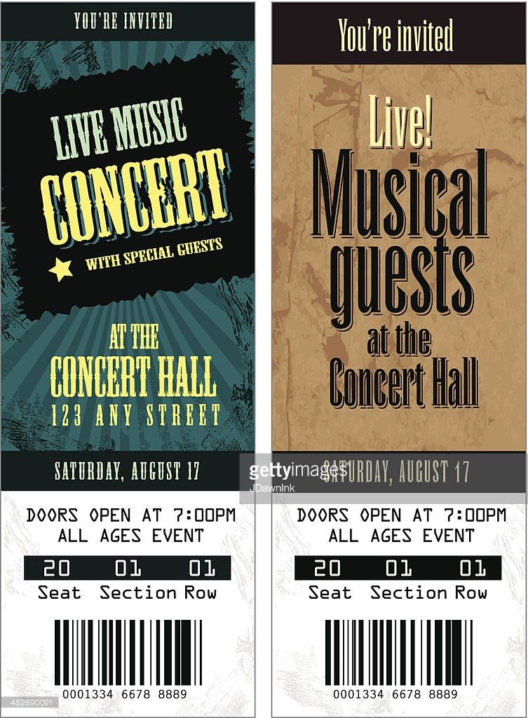 Set Of Cool Concert Tickets Template Vector Art | Getty Images