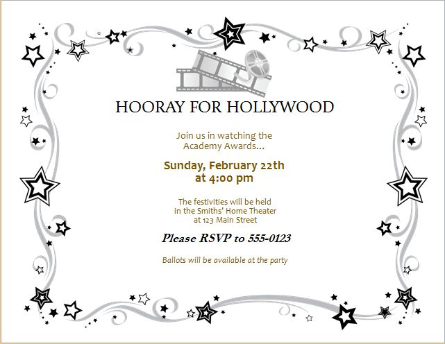 Movie Award Party Invitation Card Editable MS Word Template | Word ...