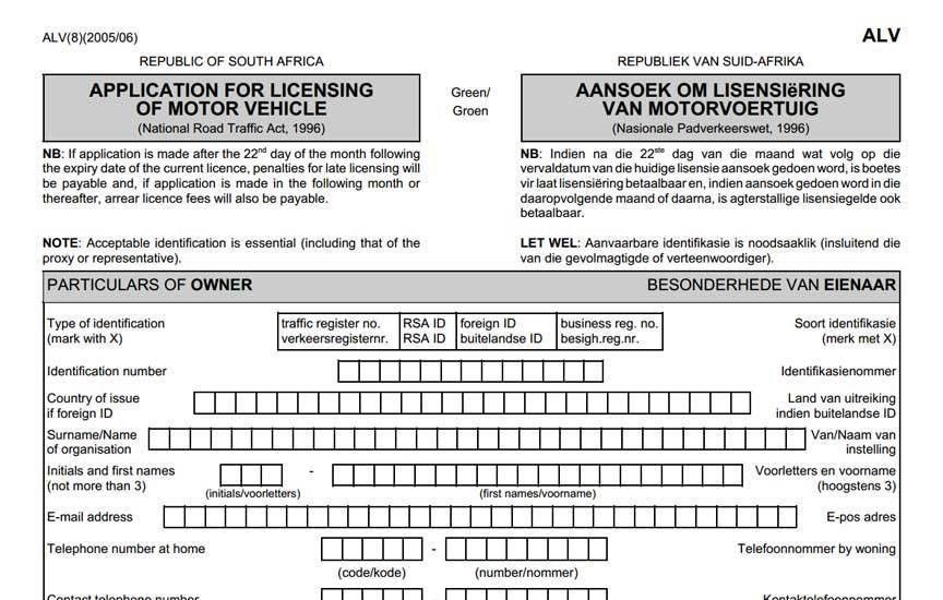 Application Form For Renewal of Motor Vehicle License Disc