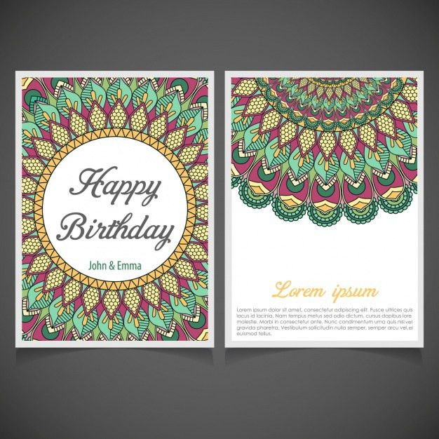 Mandala birthday invitation design Vector | Free Download
