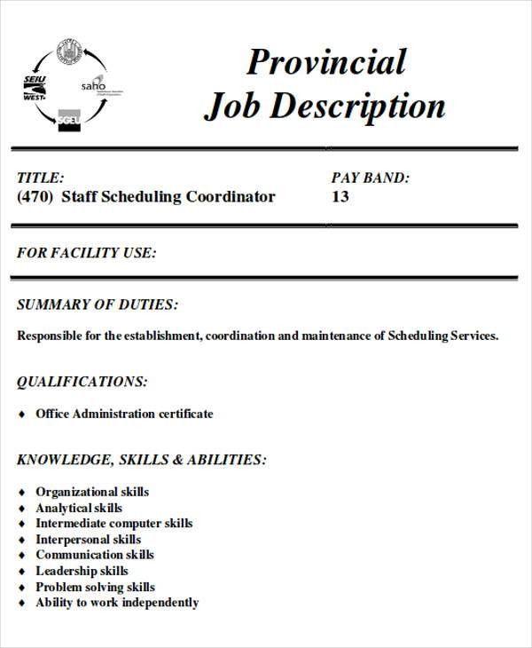 Scheduling Coordinator Job Description Sample - 8+ Examples in ...