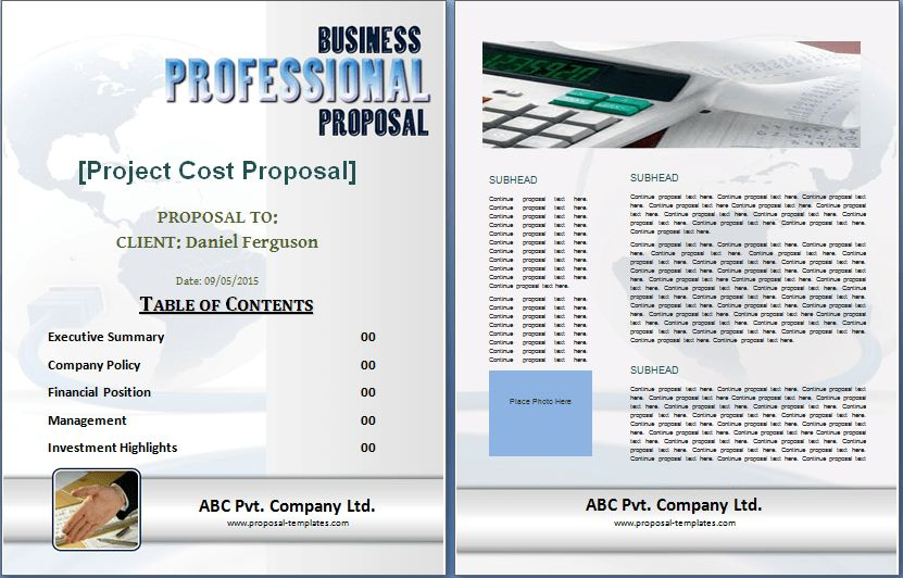 Editable Printable Proposal Templates