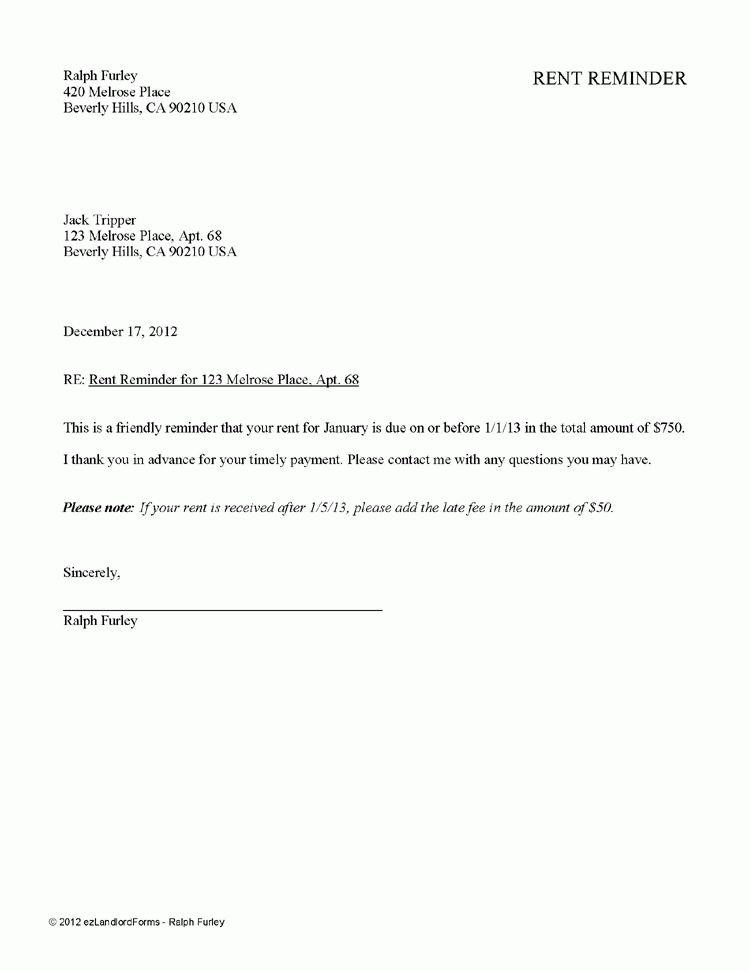 Rent Reminder | EZ Landlord Forms