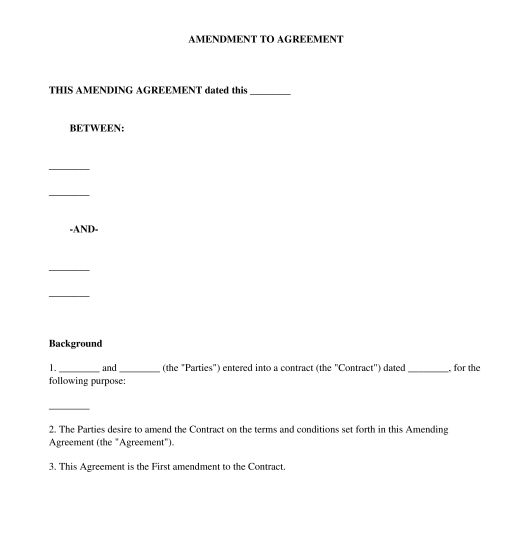 Amendment to Agreement - Template - Word & PDF