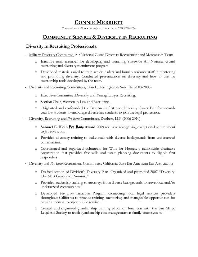 Community Service and Diversity in Recruitment - Addendum to Resume o…