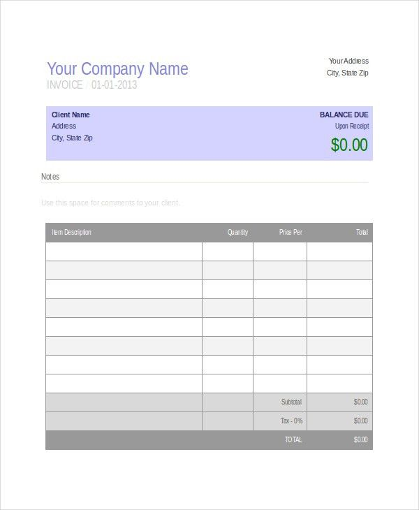 Company Invoice Template - 5+ Free Word, Excel, PDF Document ...