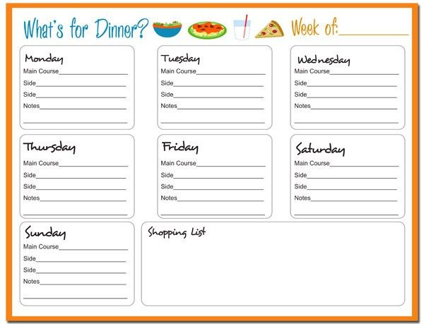 Daily Menu Planner Template : Selimtd