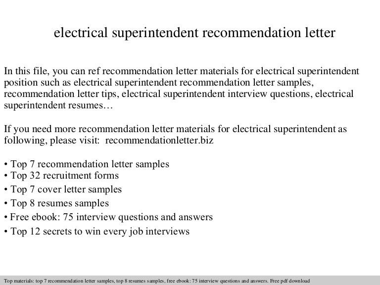 Electrical superintendent recommendation letter