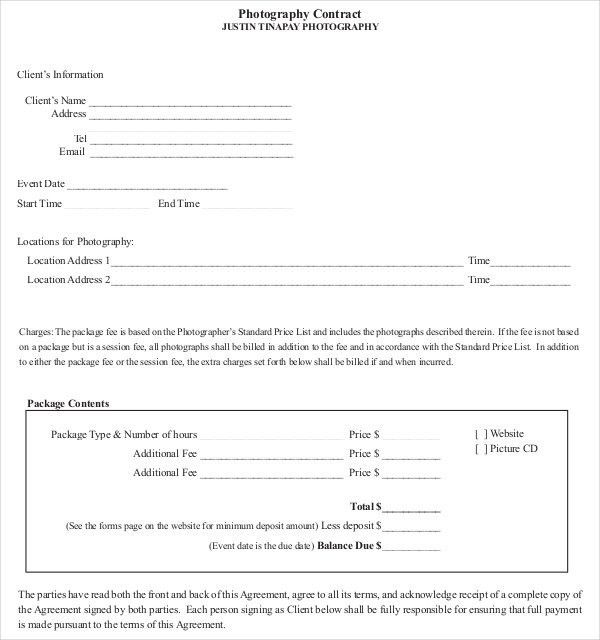 Photography Contract Template – 20+ Free Word, PDF Documents ...
